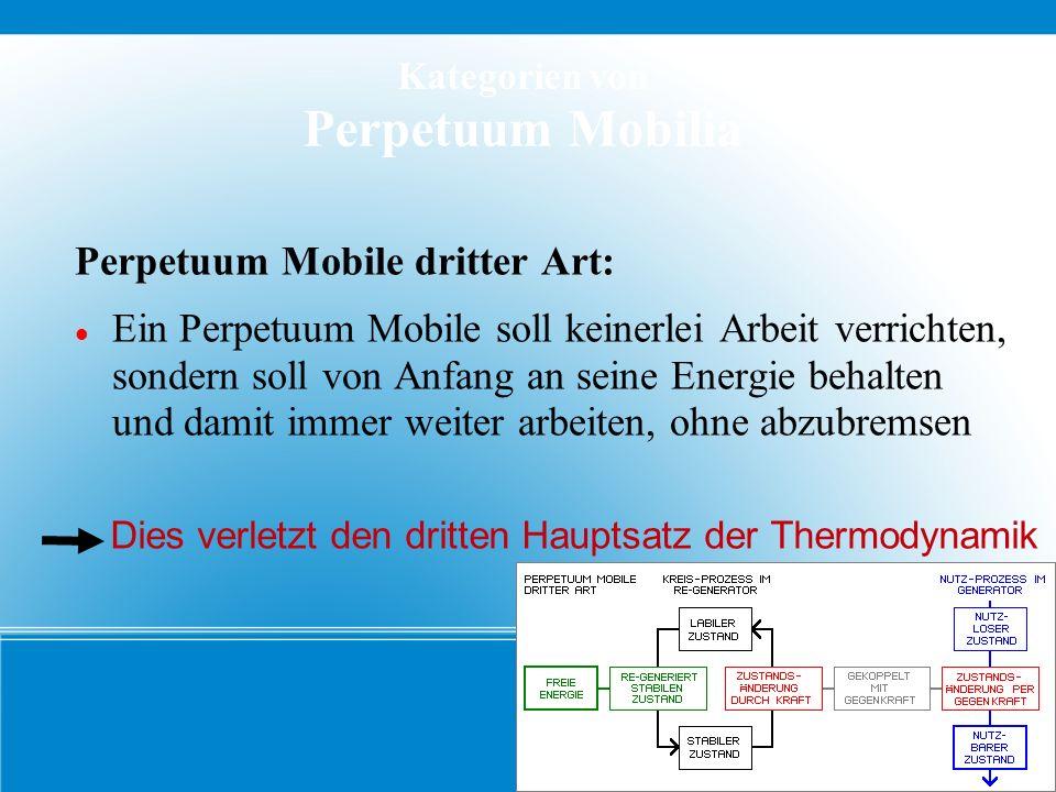 Kategorien von Perpetuum Mobilia Perpetuum Mobile dritter Art: Ein Perpetuum Mobile soll keinerlei Arbeit verrichten, sondern soll von Anfang an seine