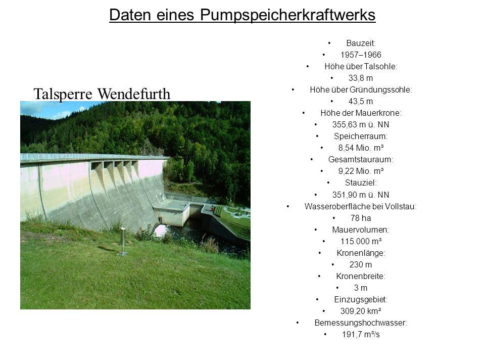 Daten eines Pumpspeicherkraftwerks Bauzeit: 1957–1966 Höhe über Talsohle: 33,8 m Höhe über Gründungssohle: 43,5 m Höhe der Mauerkrone: 355,63 m ü. NN