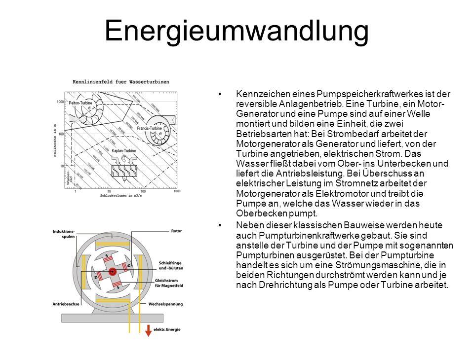 Energieumwandlung Kennzeichen eines Pumpspeicherkraftwerkes ist der reversible Anlagenbetrieb. Eine Turbine, ein Motor- Generator und eine Pumpe sind