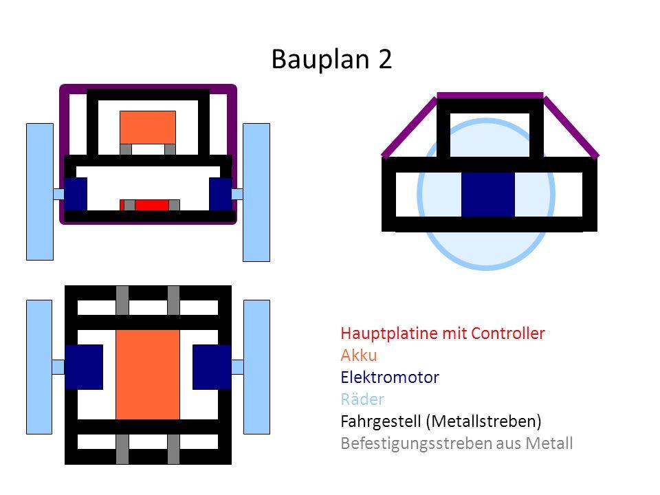 Hauptplatine mit Controller Akku Elektromotor Räder Fahrgestell (Metallstreben) Befestigungsstreben aus Metall Bauplan 2