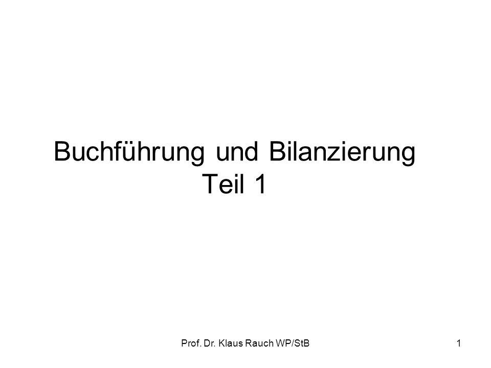 Prof.Dr. Klaus Rauch WP/StB21 Gliederung der Bilanz gem.