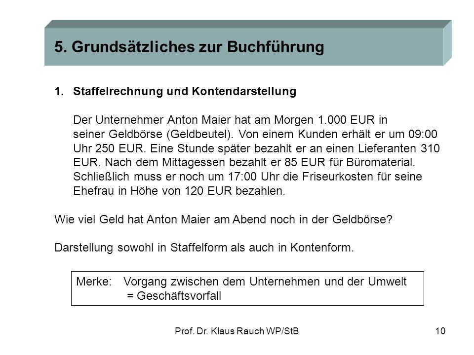 Prof. Dr. Klaus Rauch WP/StB9 3.Steuerrechtliche Vorschriften Grundsätzlich: Maßgeblichkeit der handelsrechtlichen Buchführung § 140 AO +Erweiterung a