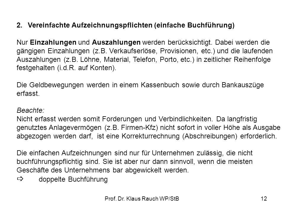 Prof. Dr. Klaus Rauch WP/StB11 Kontenform: Soll Haben Kassenkonto Grundsätzlich gilt: 1.Anfangsbestand und Mehrungen stehen auf der gleichen Kontensei