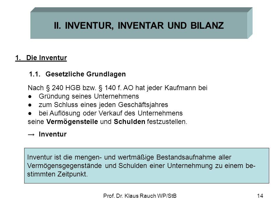 Prof. Dr. Klaus Rauch WP/StB13 Beispiel: Der Arzt Dr. A. Quacksalber hat folgende Geschäftsvorfälle aufgezeichnet: Behandlung von Patienten 309.300 EU