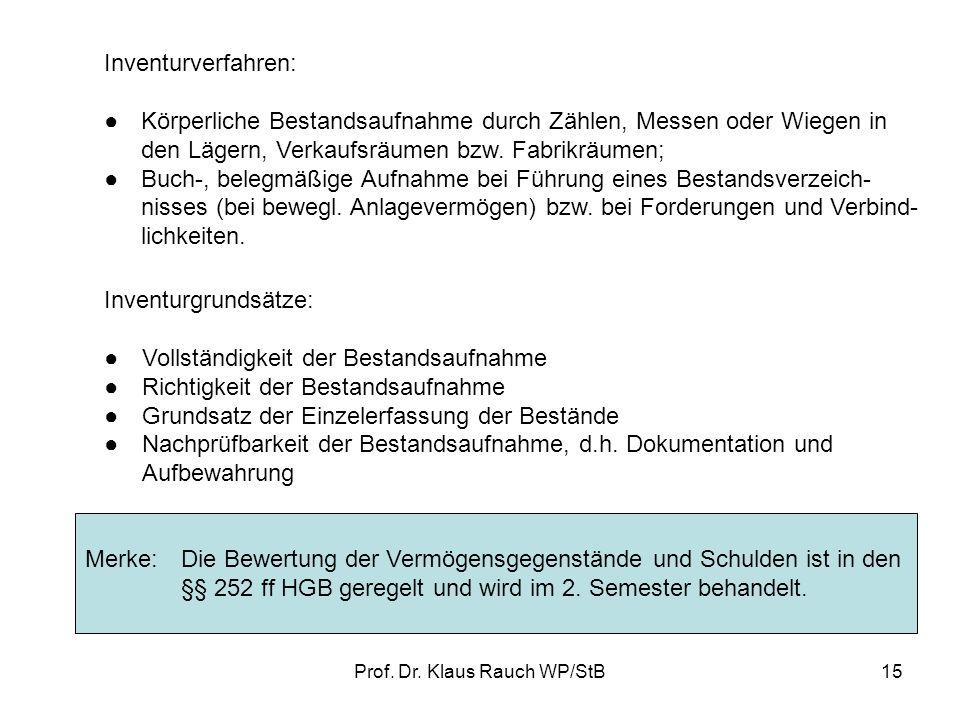 Prof. Dr. Klaus Rauch WP/StB14 II.INVENTUR, INVENTAR UND BILANZ Nach § 240 HGB bzw. § 140 f. AO hat jeder Kaufmann beiGründung seines Unternehmenszum