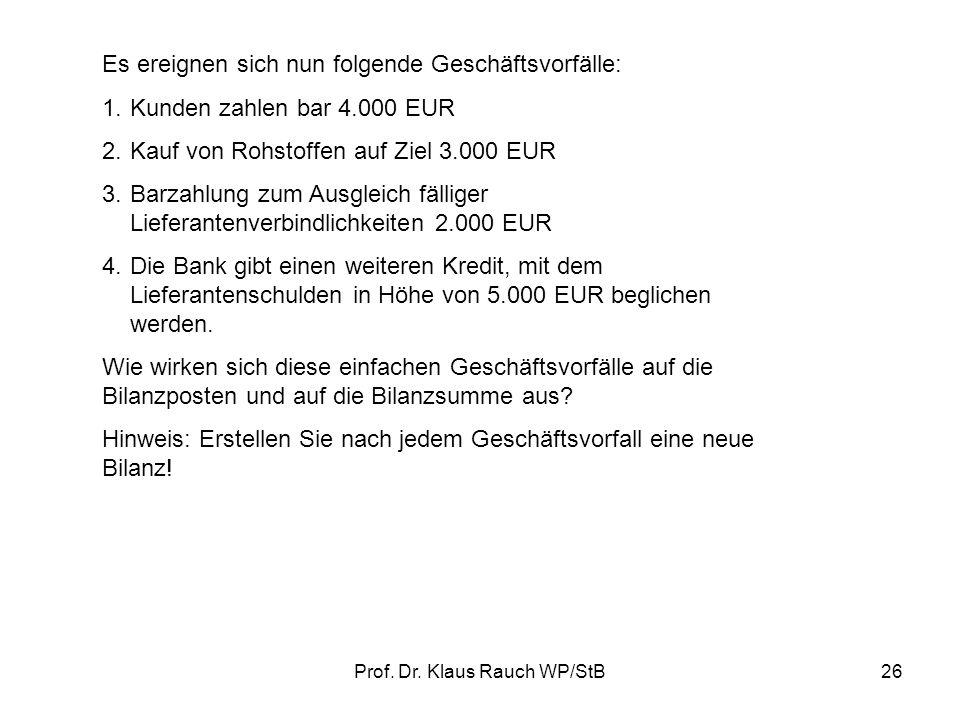 Prof. Dr. Klaus Rauch WP/StB25 III.SYSTEMATIK DER FINANZBUCHFÜHRUNG 1.Bilanzveränderungen Ausgangspunkt ist folgende vereinfachte Bilanz: Aktiva Passi