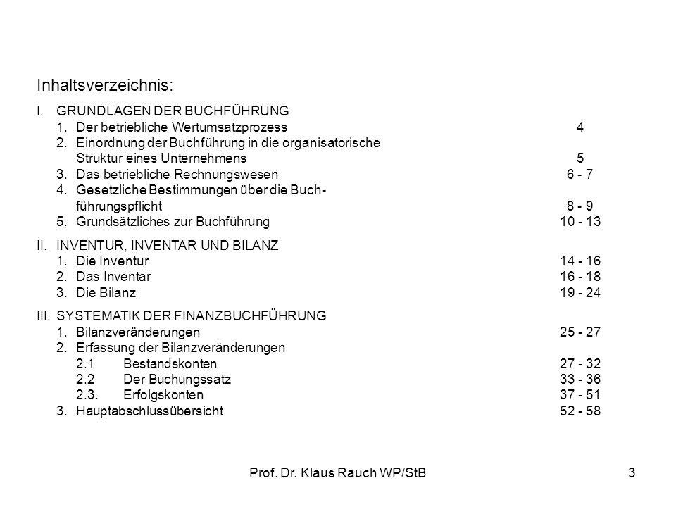 Prof. Dr. Klaus Rauch WP/StB2 Die Vorlesungsfolien geben den prüfungsrelevanten Stoff lediglich in Stichworten wieder. Sie verdeutlichen die Struktur