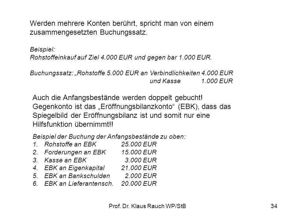 Prof. Dr. Klaus Rauch WP/StB33 2.2.Der Buchungssatz Vorgehensweise: Welche Konten sind betroffen? Wie ändern sich die Bestände? Auf welcher Seite muss