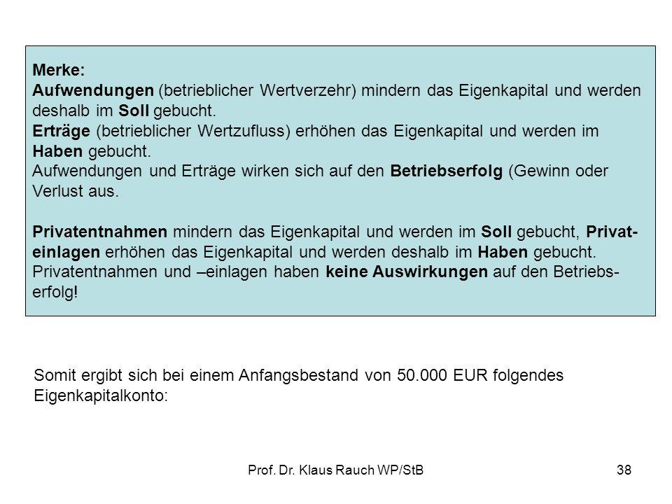 Prof. Dr. Klaus Rauch WP/StB37 2.3.Erfolgskonten Bilden Sie die Buchungssätze für folgende Geschäftsvorfälle für die Firma Anton Maier Fahrradprodukti