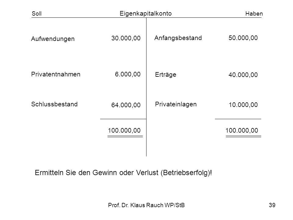 Prof. Dr. Klaus Rauch WP/StB38 Merke: Aufwendungen (betrieblicher Wertverzehr) mindern das Eigenkapital und werden deshalb im Soll gebucht. Erträge (b