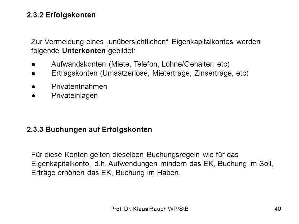 Prof. Dr. Klaus Rauch WP/StB39 SollHaben Eigenkapitalkonto Anfangsbestand Erträge PrivateinlagenSchlussbestand Privatentnahmen Aufwendungen 50.000,00