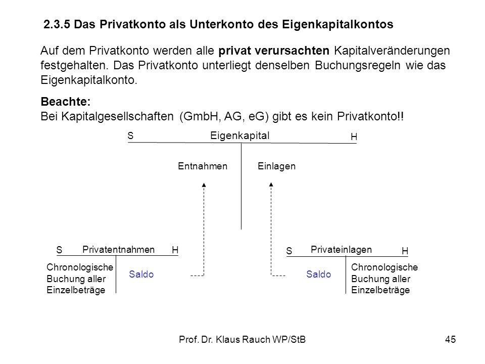 Prof. Dr. Klaus Rauch WP/StB44 Die Aufwands- und Ertragskonten werden über das GuV-Konto abgeschlossen. Der Saldo des GuV-Kontos (= Gewinn oder Verlus
