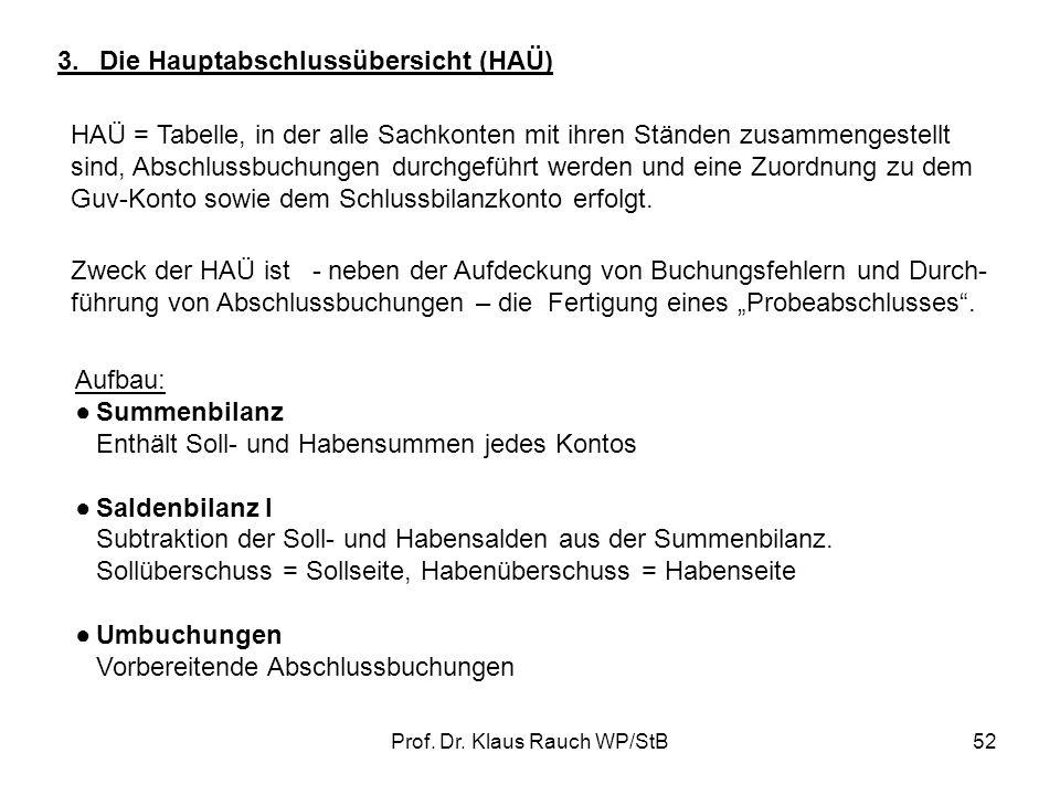 Prof. Dr. Klaus Rauch WP/StB51 1.Erstellen Sie die Eröffnungsbilanz 2.Buchen Sie die Geschäftsvorfälle auf T-Konten unter Angabe des Buchungssatzes 3.