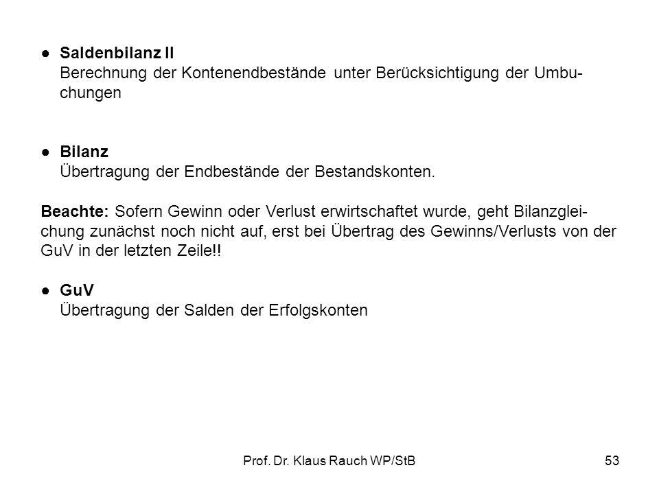 Prof. Dr. Klaus Rauch WP/StB52 HAÜ = Tabelle, in der alle Sachkonten mit ihren Ständen zusammengestellt sind, Abschlussbuchungen durchgeführt werden u