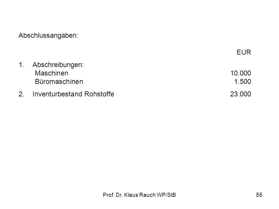 Prof. Dr. Klaus Rauch WP/StB54 Beispiel: