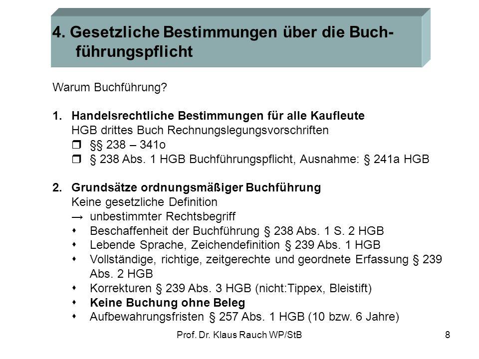 Prof. Dr. Klaus Rauch WP/StB7 Funktion der Buchführung Die Buchführung ist das Fundament des betrieblichen Rechnungswesens. Sie ermöglicht Information