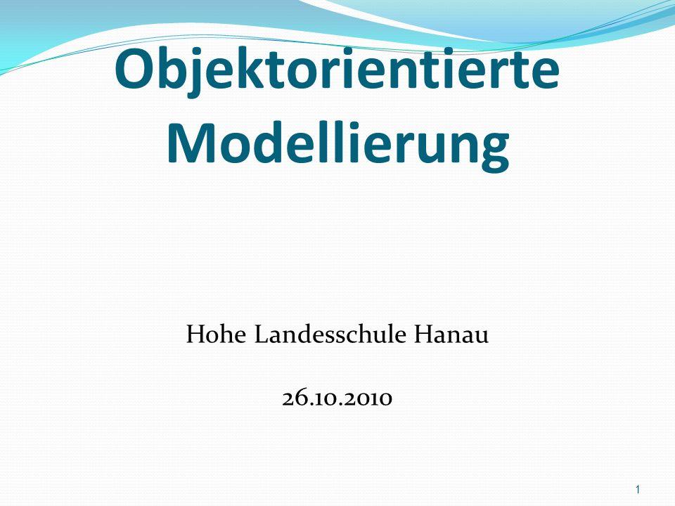 Objektorientierte Modellierung Hohe Landesschule Hanau 26.10.2010 1