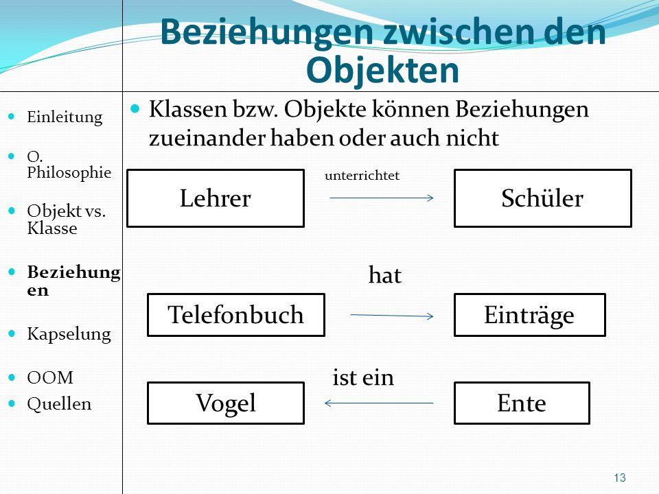 Beziehungen zwischen den Objekten 13 Klassen bzw. Objekte können Beziehungen zueinander haben oder auch nicht unterrichtet hat ist ein Einleitung O. P