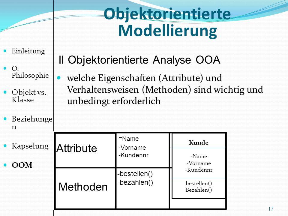 Objektorientierte Modellierung 17 welche Eigenschaften (Attribute) und Verhaltensweisen (Methoden) sind wichtig und unbedingt erforderlich II Objektorientierte Analyse OOA Attribute Methoden - Name -Vorname -Kundennr -bestellen() -bezahlen() Kunde -Name -Vorname -Kundennr bestellen() Bezahlen() Einleitung O.
