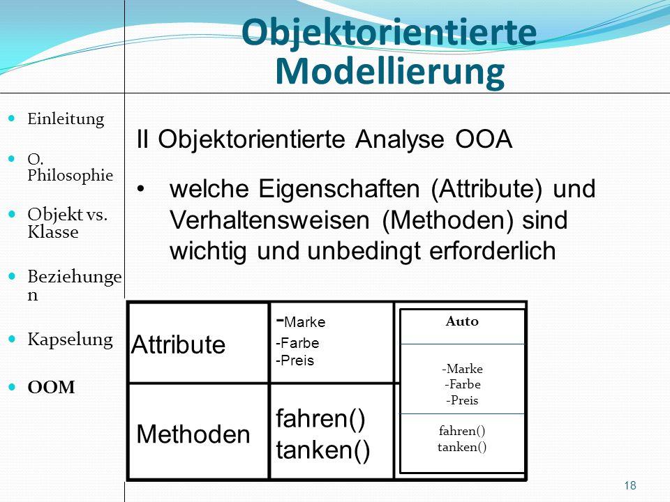 Objektorientierte Modellierung 18 II Objektorientierte Analyse OOA welche Eigenschaften (Attribute) und Verhaltensweisen (Methoden) sind wichtig und unbedingt erforderlich Attribute Methoden - Marke -Farbe -Preis Auto -Marke -Farbe -Preis fahren() tanken() fahren() tanken() Einleitung O.