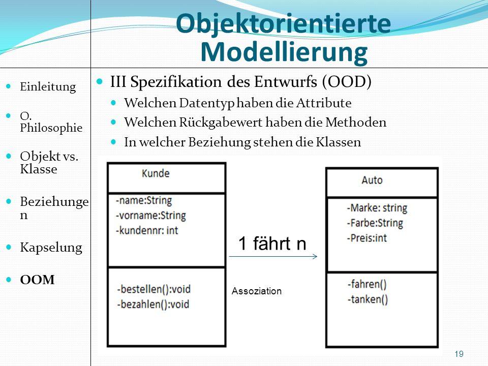 Objektorientierte Modellierung 19 III Spezifikation des Entwurfs (OOD) Welchen Datentyp haben die Attribute Welchen Rückgabewert haben die Methoden In welcher Beziehung stehen die Klassen 1 fährt n Einleitung O.