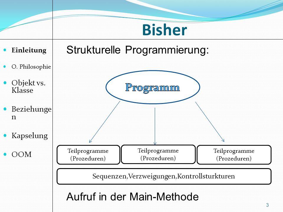 Teilprogramme (Prozeduren) Teilprogramme (Prozeduren) Bisher Einleitung O. Philosophie Objekt vs. Klasse Beziehunge n Kapselung OOM 3 Teilprogramme (P