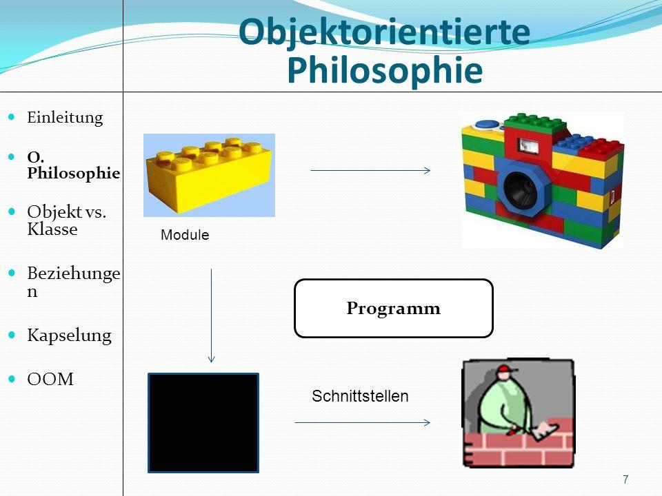 Objektorientierte Philosophie 7 Einleitung O. Philosophie Objekt vs. Klasse Beziehunge n Kapselung OOM Programm Module Schnittstellen