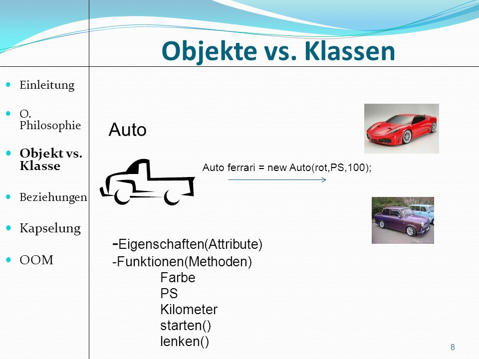 Objekte vs. Klassen 8 Einleitung O. Philosophie Objekt vs. Klasse Beziehungen Kapselung OOM Auto - Eigenschaften(Attribute) -Funktionen(Methoden) Farb
