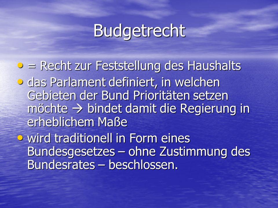 Budgetrecht = Recht zur Feststellung des Haushalts = Recht zur Feststellung des Haushalts das Parlament definiert, in welchen Gebieten der Bund Priori