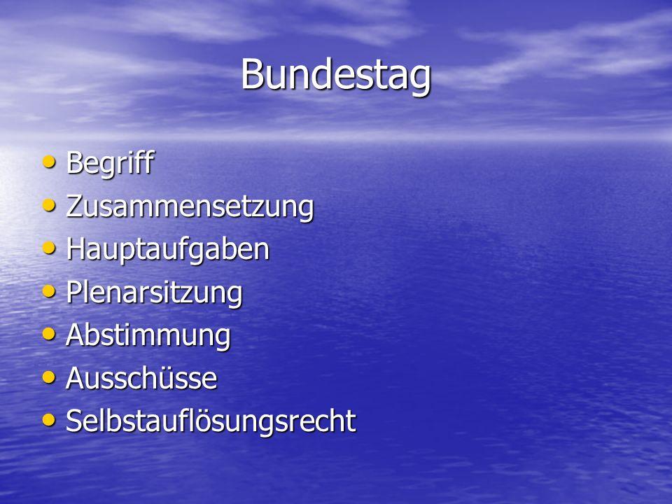 Bundestag Begriff Begriff Zusammensetzung Zusammensetzung Hauptaufgaben Hauptaufgaben Plenarsitzung Plenarsitzung Abstimmung Abstimmung Ausschüsse Aus
