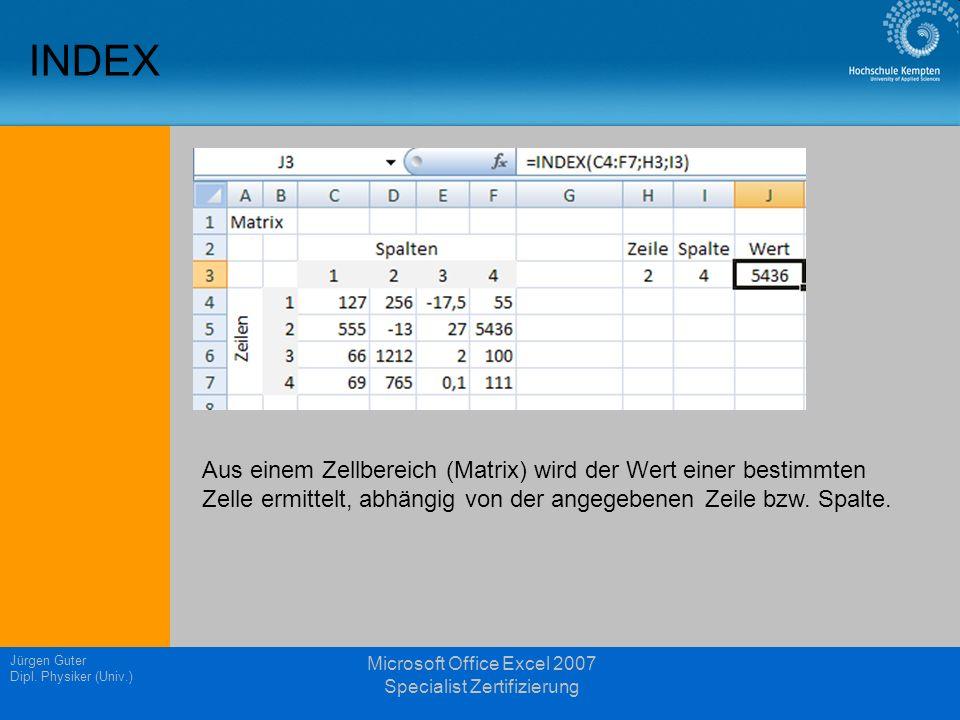 Jürgen Guter Dipl. Physiker (Univ.) Microsoft Office Excel 2007 Specialist Zertifizierung INDEX Aus einem Zellbereich (Matrix) wird der Wert einer bes
