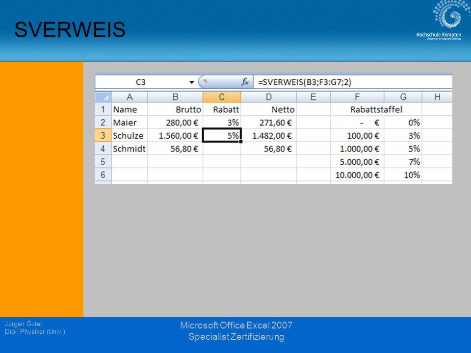 Jürgen Guter Dipl. Physiker (Univ.) Microsoft Office Excel 2007 Specialist Zertifizierung SVERWEIS