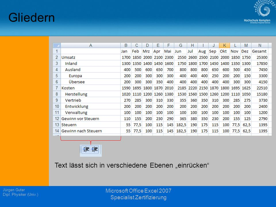 Gliedern Jürgen Guter Dipl. Physiker (Univ.) Microsoft Office Excel 2007 Specialist Zertifizierung Text lässt sich in verschiedene Ebenen einrücken