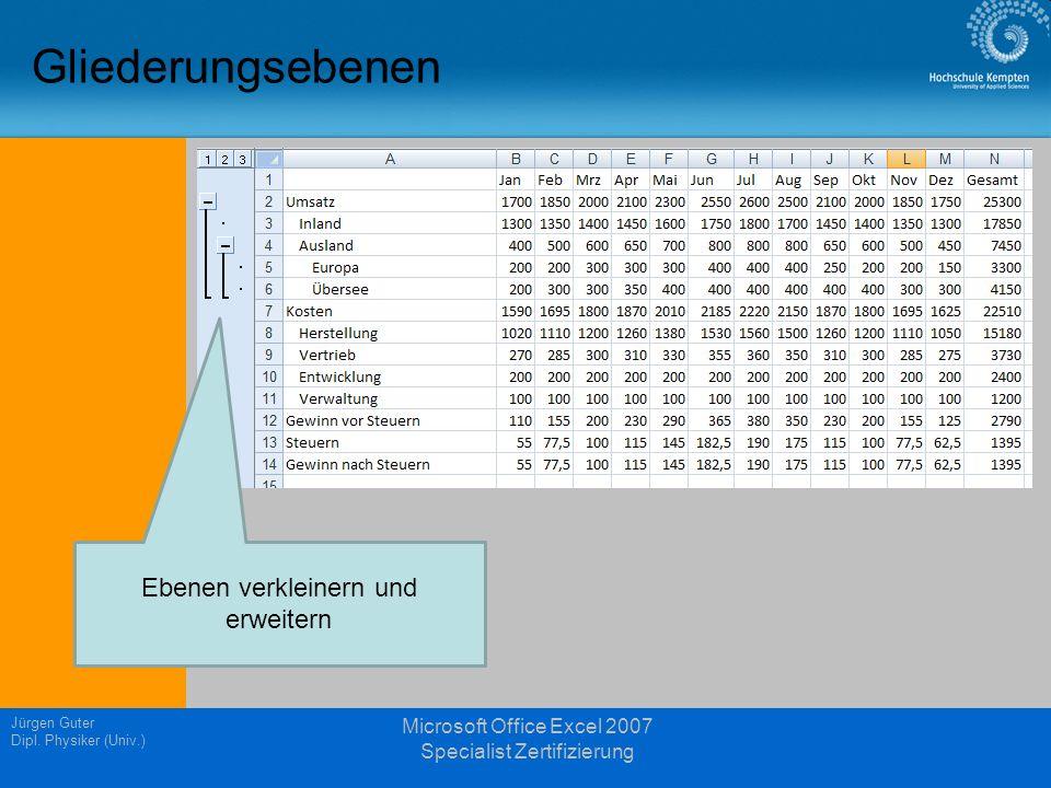 Gliederungsebenen Jürgen Guter Dipl. Physiker (Univ.) Microsoft Office Excel 2007 Specialist Zertifizierung Ebenen verkleinern und erweitern