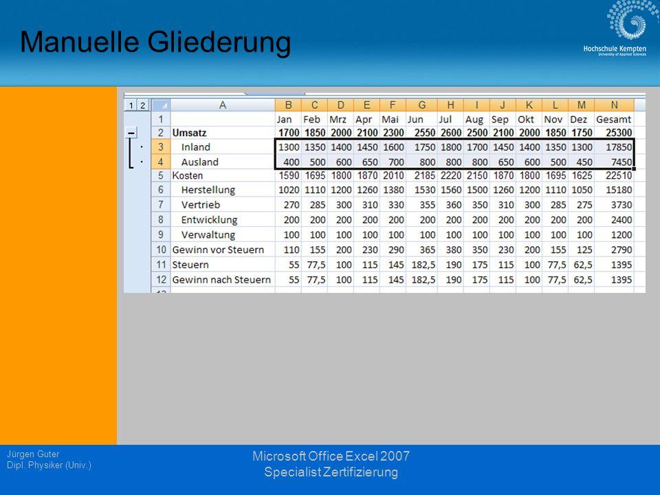 Manuelle Gliederung Jürgen Guter Dipl. Physiker (Univ.) Microsoft Office Excel 2007 Specialist Zertifizierung