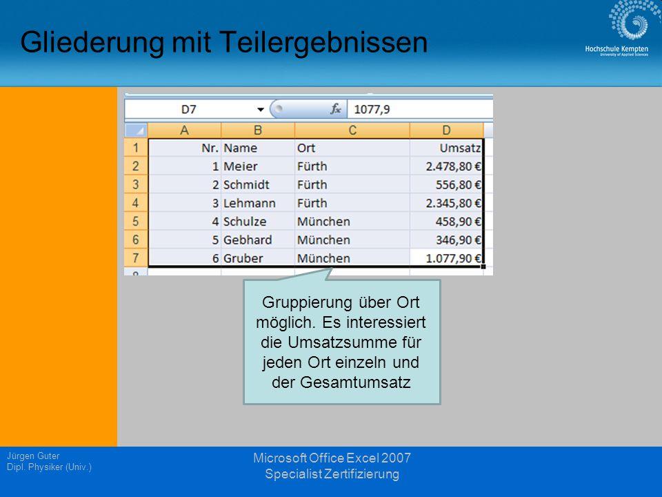 Gliederung mit Teilergebnissen Jürgen Guter Dipl. Physiker (Univ.) Microsoft Office Excel 2007 Specialist Zertifizierung Gruppierung über Ort möglich.