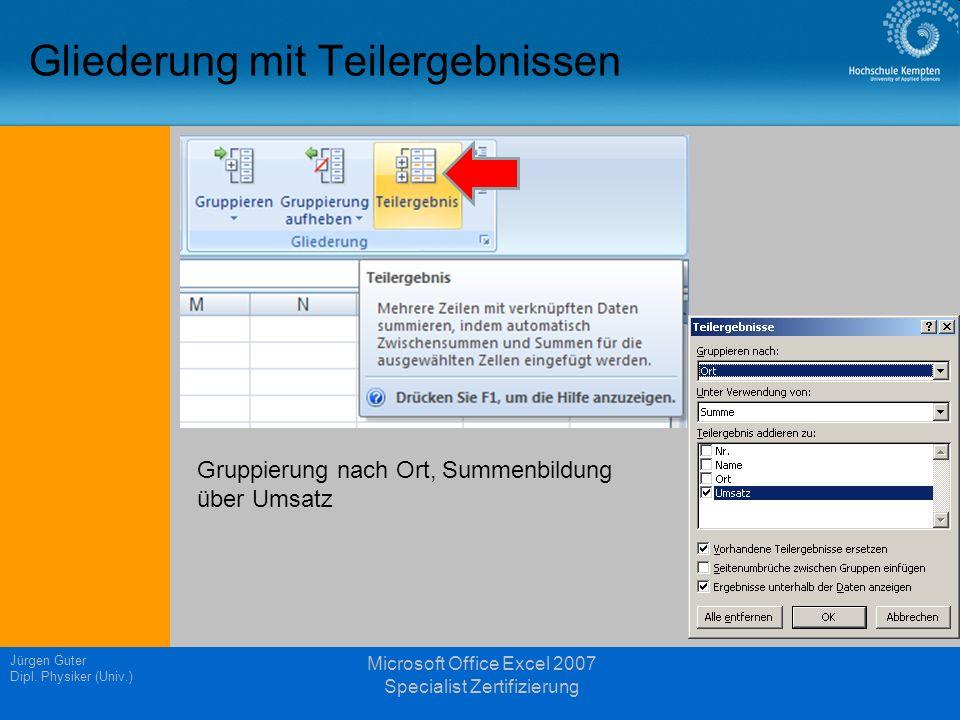 Gliederung mit Teilergebnissen Jürgen Guter Dipl. Physiker (Univ.) Microsoft Office Excel 2007 Specialist Zertifizierung Gruppierung nach Ort, Summenb