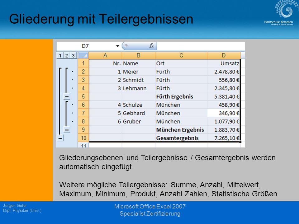 Gliederung mit Teilergebnissen Jürgen Guter Dipl. Physiker (Univ.) Microsoft Office Excel 2007 Specialist Zertifizierung Gliederungsebenen und Teilerg