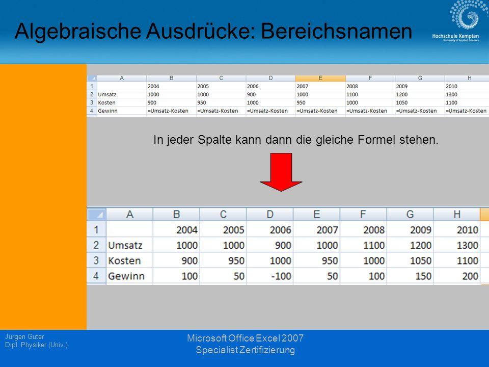 Jürgen Guter Dipl. Physiker (Univ.) Microsoft Office Excel 2007 Specialist Zertifizierung Algebraische Ausdrücke: Bereichsnamen In jeder Spalte kann d