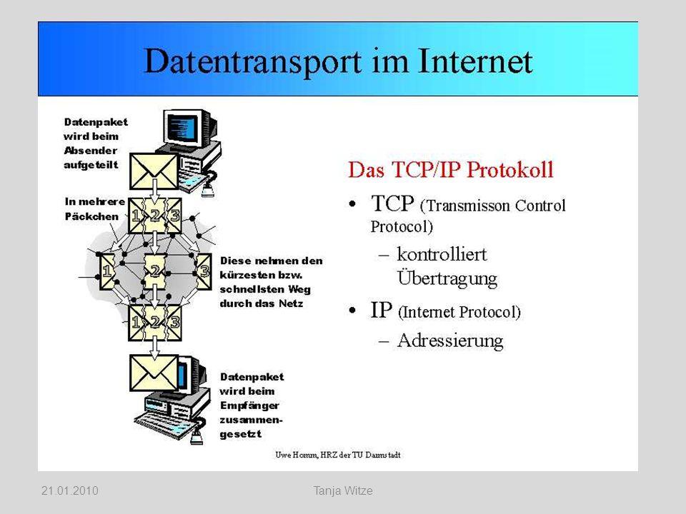 IP-Adressen Beispiel Ruhr-Universität Bochum IP Adresse 134.147.xxx.xxx = Dual 10000110.10010011.xxxxxxxx.xxxxxxxx 26.01.2010Tanja Witze