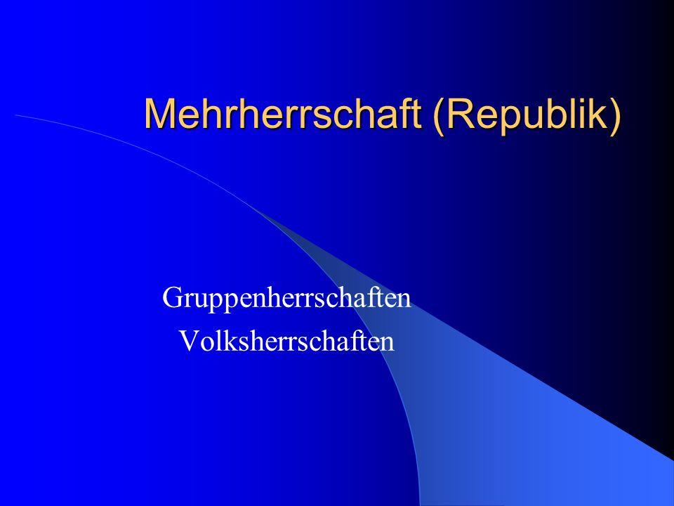 Mittelbare Demokratie Parlamentarische Demokratie Bsp.: Bundesrepublik Deutschland Legislative und Exekutive sind miteinander verbunden (gewaltenverbindende Demokratie) Regierung hängt vom Parlament ab Amtsgeschäfte sollen den mehrheitlichen Willen des Parlaments entsprechen (parlamentarische Regierungsform)