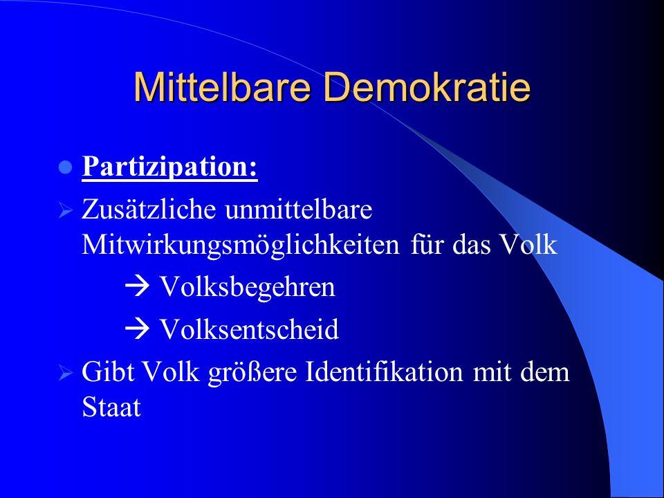 Mittelbare Demokratie Partizipation: Zusätzliche unmittelbare Mitwirkungsmöglichkeiten für das Volk Volksbegehren Volksentscheid Gibt Volk größere Ide