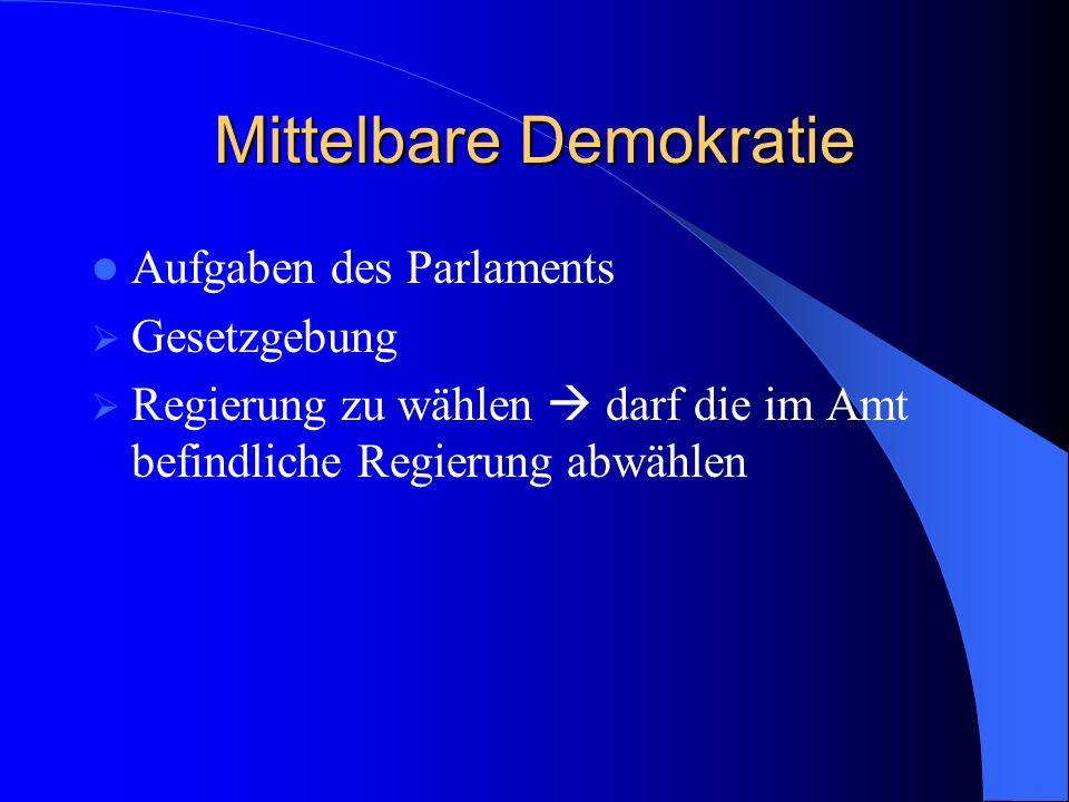 Mittelbare Demokratie Aufgaben des Parlaments Gesetzgebung Regierung zu wählen darf die im Amt befindliche Regierung abwählen