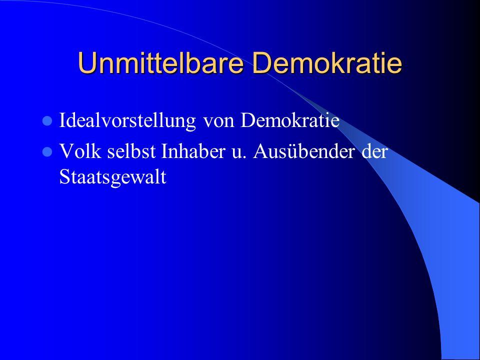 Unmittelbare Demokratie Idealvorstellung von Demokratie Volk selbst Inhaber u. Ausübender der Staatsgewalt