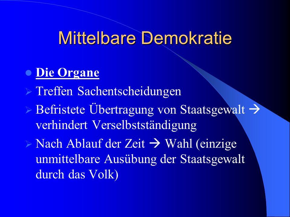 Mittelbare Demokratie Partizipation: Zusätzliche unmittelbare Mitwirkungsmöglichkeiten für das Volk Volksbegehren Volksentscheid Gibt Volk größere Identifikation mit dem Staat