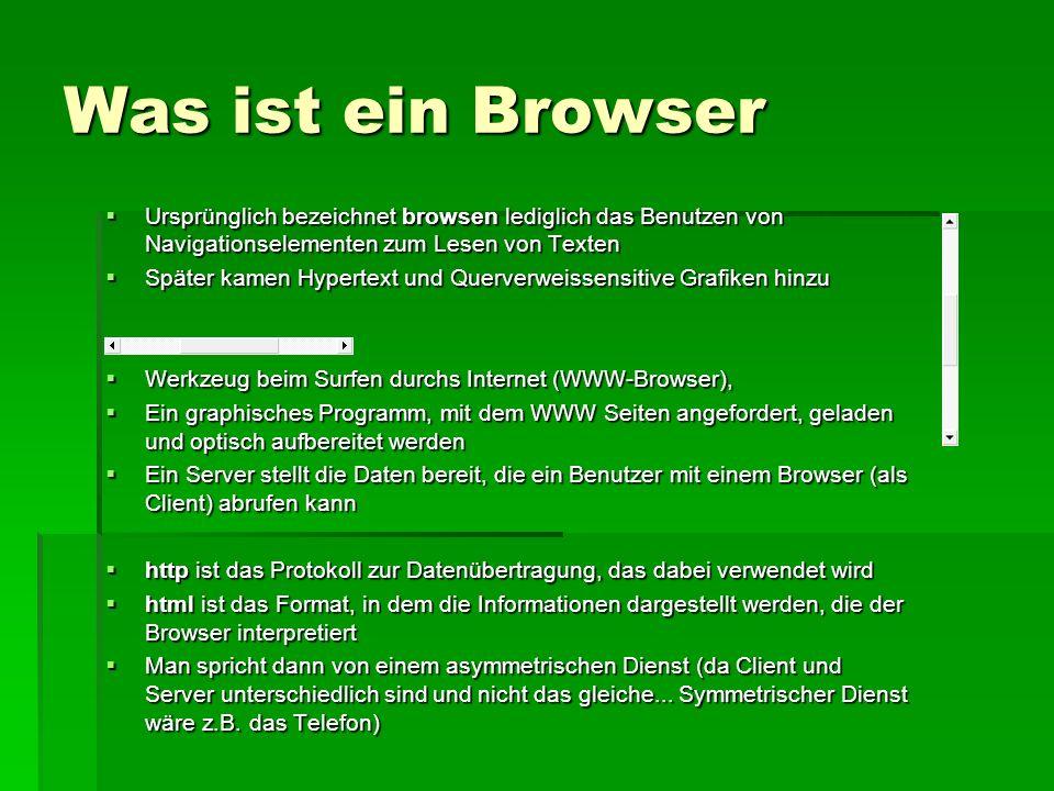 Was ist ein Browser Ursprünglich bezeichnet browsen lediglich das Benutzen von Navigationselementen zum Lesen von Texten Ursprünglich bezeichnet brows