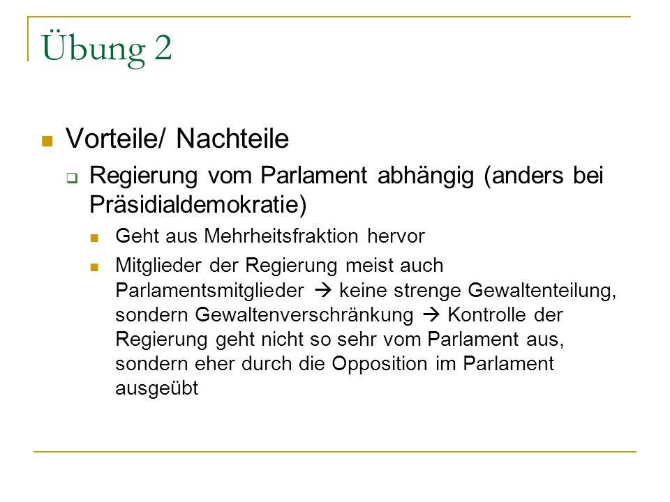 Übung 2 Vorteile/ Nachteile Regierung vom Parlament abhängig (anders bei Präsidialdemokratie) Geht aus Mehrheitsfraktion hervor Mitglieder der Regieru