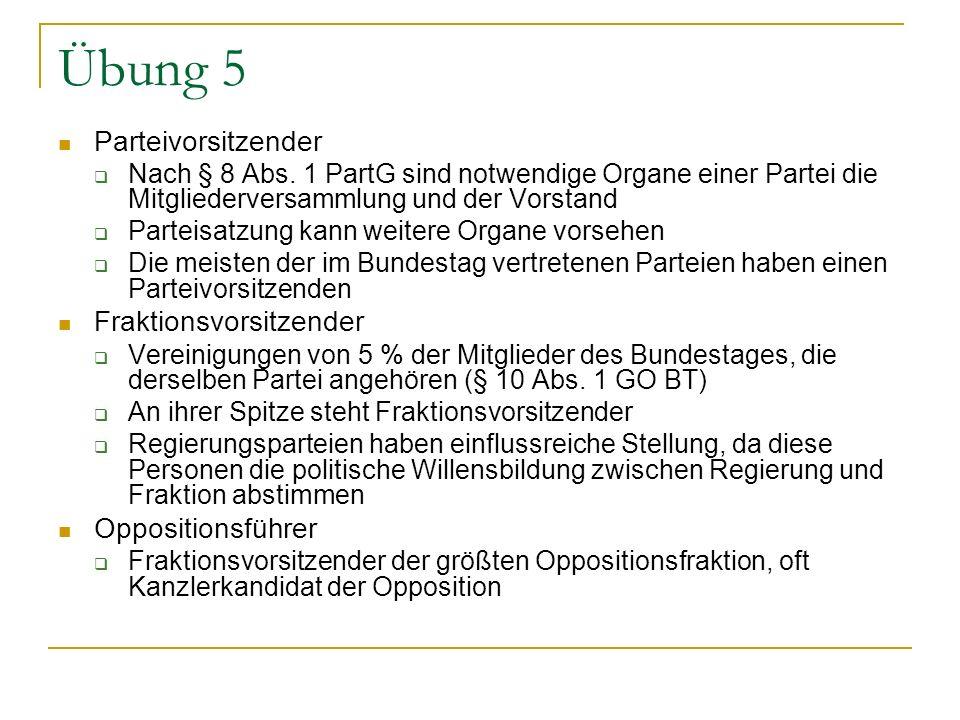 Übung 5 Parteivorsitzender Nach § 8 Abs. 1 PartG sind notwendige Organe einer Partei die Mitgliederversammlung und der Vorstand Parteisatzung kann wei