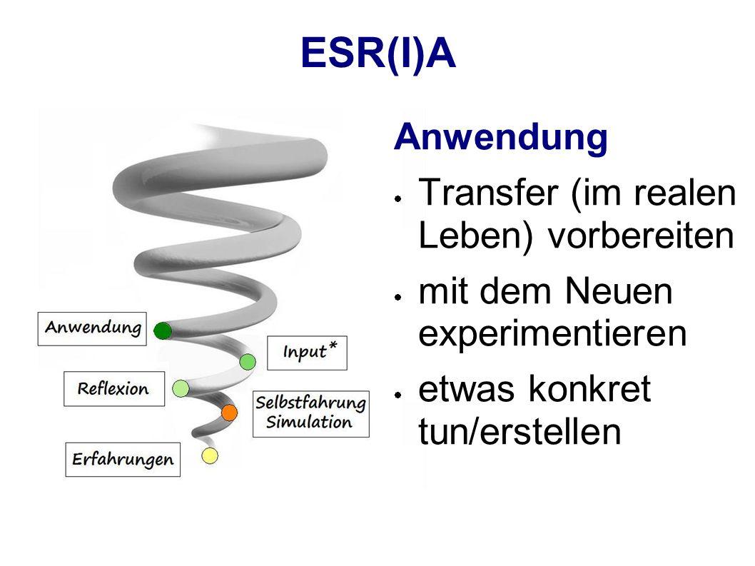 ESR(I)A Anwendung Transfer (im realen Leben) vorbereiten mit dem Neuen experimentieren etwas konkret tun/erstellen