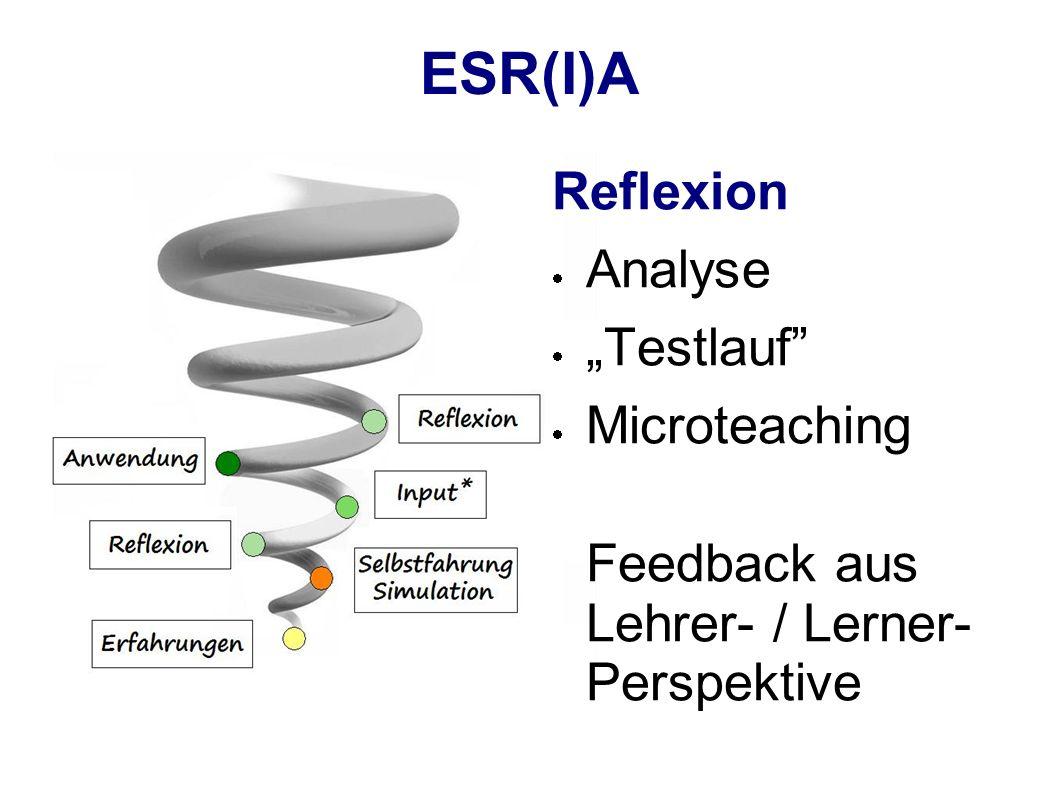 ESR(I)A Reflexion Analyse Testlauf Microteaching Feedback aus Lehrer- / Lerner- Perspektive